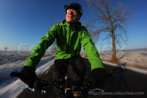 happy winter cyclist
