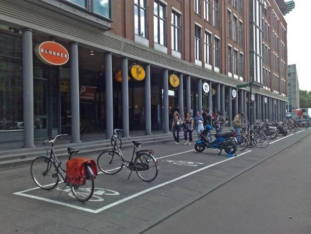 Выделенные места для парковки велосипеда